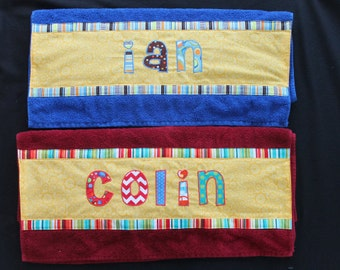 Personalized Appliqued Towels--Not Hooded