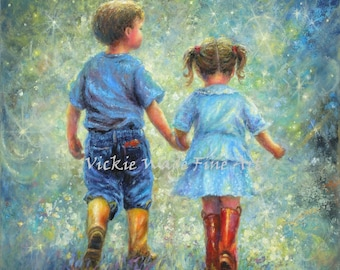 Brother Sister Art Print, big brother little sister holding hands moon stars, starry night, boy and girl childrens wall art, Vickie Wade art