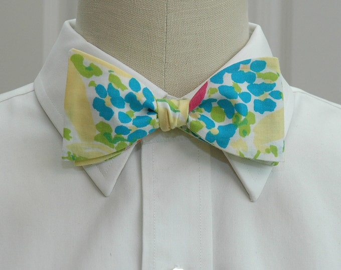 Men's Bow Tie, Blue Eyed Girl yellow/turquoise Lilly print, floral bow tie, wedding bow tie, groom bow tie, groomsmen gift, Easter bow tie,