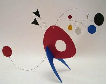 Art Mobile Stabile Wise Guy Table-top Sculpture Calder Inspired Colorful Home Decor