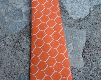 Orange hexagon skinny tie