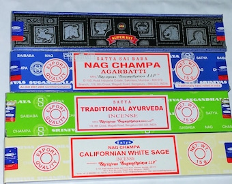 Satya Incense Sticks with 4 Different Flavours --Superhit, Nag Champa, Ayurveda and Californian White Sage with Free Incense Holder
