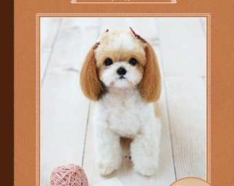 NEEDLE FELT Hamanaka realistic wool felt lesson book Shih Tzu --- Japanese Craft Book H441-065