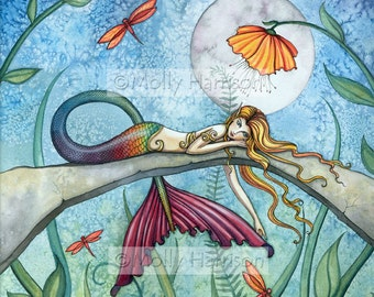 Mermaid Print - Fine Art Archival Giclee Print 12 x 12 'Down by the Pond'