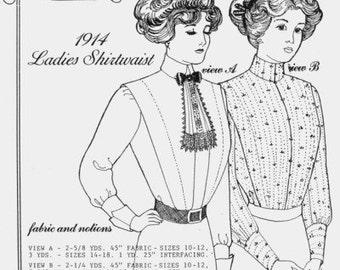 PP400 - Past Patterns #400, 1910-1914 Edwardian Tailored Shirtwaists Sewing Pattern