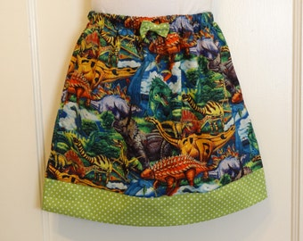 Prehistoric Jurassic Dinosaurs Girls Skirt, Made To Order Size 3 to 6, Prehistoric Dinosaurs, T-Rex, Brontosaurus, Stegosaurus,