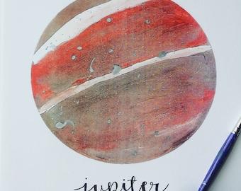 Hand Embellished Jupiter Print