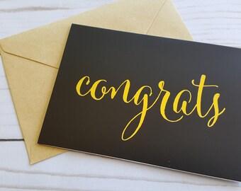 Congratulations Card, Graduation Card, College Graduate, High School Graduate, Gold Foil Graduation Card, Happy Graduation Card