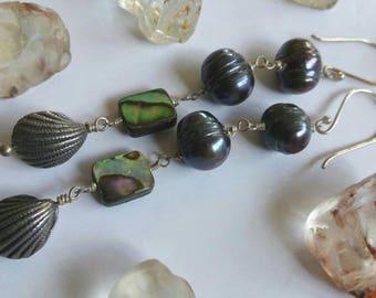 Ocean Treasures Baroque Pearls Paua Shell and Sterling silver Shell drop earrings