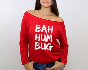 Long sleeve red off the shoulder sweatshirt BAH HUM BUG in white