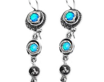 Silver Opal earrings, Long Earrings, Dangle Earrings, Blue Opal, October Birthstone, Bridal Jewelryl, A30838, handmade