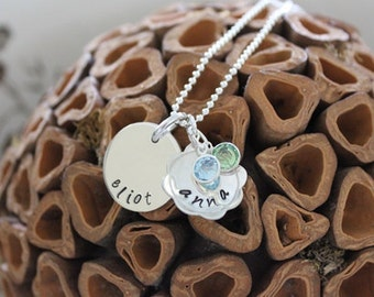 Mom Jewelry  Handstamped Sterling Silver Dainty Big Kid Little Kid