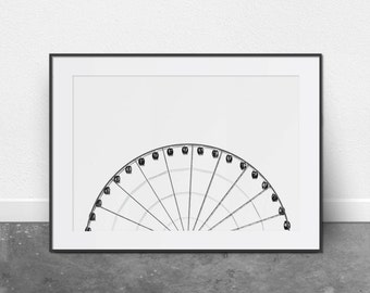 Ferris Wheel, Architectural Print, Printable Art, Black and White Photography, Minimalist Art, Digital Download, Printable Wall Art, Modern