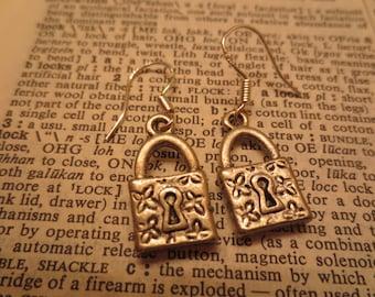 Small Locket Earrings Sterling Silver Hooks