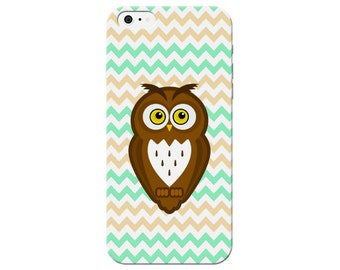 Mint Yellow Chevron Owl Print Case For iPhone 6 / 6 Plus 6+ / 5c / 5s / 5 / 4s / 4 Hard Plastic Rigid Owls Cover Printed In USA c11