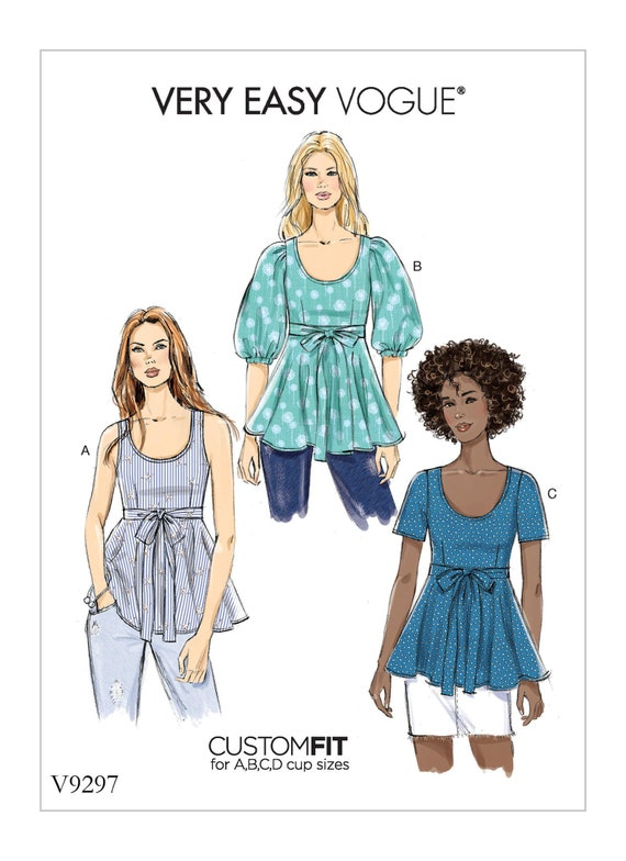 Sewing Pattern for Misses Tops Empire Waist with Ties Vogue