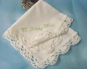 Ladies Handkerchief, Lace Hanky, Crochet Hankie, For Happy Tears, Sage Green, Hand Crochet, Ready to ship