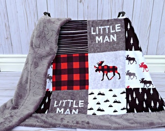 Buffalo Plaid Minky Baby Blanket - Buffalo Plaid Blanket Faux Quilt - Little Man Blanket - Lumberjack - Buffalo Check Baby Blanket Toddler