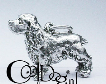 Solid silver Cocker Spaniel pendant solid Sterling silver or silver with a layer of gold: 18 kt. Gold Plated