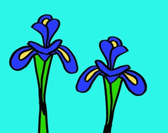 Iris greeting card, any occasion, blank card