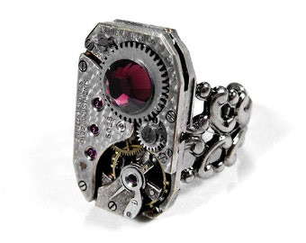 Steampunk Jewelry Ring Mens or Womens Jewel Watch Movement RUBY Swarovski Crystal, Art Deco Silver Ring MENS Gift - Jewelry by edmdesigns
