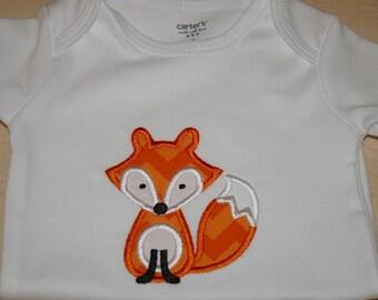 Onesie, fox onesie, orange chevron, custom, personalized, applique