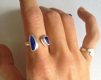 Blue Sea Glass Ring, Adjustable Ring, Cobalt Blue Beach Ring, Double Blue Stone Silver Ring - Sea Glass Collection