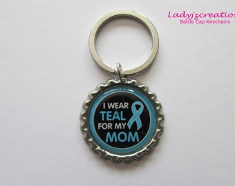 Ovarian Cancer Flattened Bottle Cap Keychain
