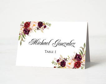 Printed Wedding Place Cards, Floral Wedding Table Place Cards, Burgundy Place Card, Editable Name Card, Place Card Template, Name Card