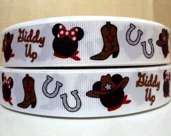 5 YDS Mickey Mouse Minnie Mouse Giddy Up Western Cowboy Ribbon
