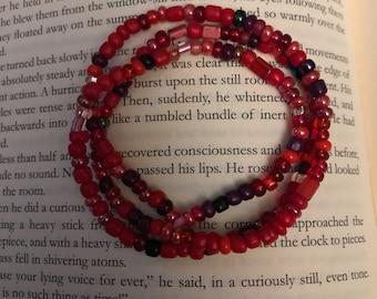 Red wrap around bracelet or necklace