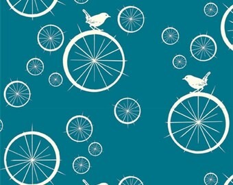 Birch Organic Cotton Fabric- Mod Basics Poplin-Birdie Spokes Teal-Animal Fabric-Bird Fabric
