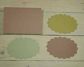 10 x Quality Oval Scallop Flat Cards Using Natural Raw Material By-Products 3 Colour Choices