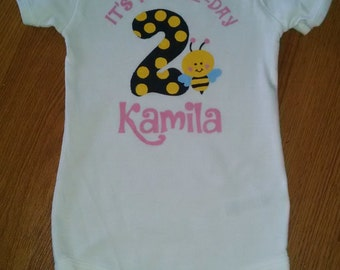 Its My Beeday Bodysuit or T-Shirt - 2nd Birthday Girl - Personalized