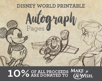 Disney World Printable Autograph Pages - Sketchbook Design
