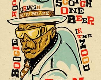 "John Lee Hooker Poster- signed by Grego - digital - blues folk art - big 12""x18"" - mojohand.com"