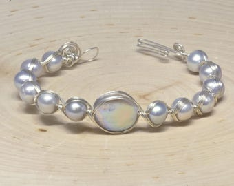 Sterling silver with fresh water pearl