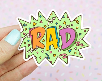 Rad, Vinyl Stickers, Speech Bubble, 90s Cartoons, Funny Stickers, Radical, Retro Gifts, 90s Party, Skateboard Sticker, Lettering, Typography