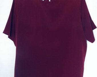 Jack Mulqueen Deep Maroon Blouse With Back Button Clousure