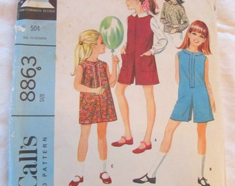 vintage McCalls DRESS, JUMPER, and BLOUSE 8863 (1967) --  Size 6