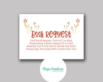 Book Request Card for Baby Shower / Matching Red Giraffe