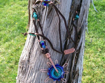 Lampwork Art Glass Disc Bead and Copper , Leather and bead Necklace, Adjustable In Blues
