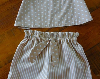 Spots and Stripes Girls Short Set, Girls Swing Crop Top Set, Girls Summer Outfit, Paperbag Shorts, FREE SHIPPING, Ready to Ship, Girl Gift