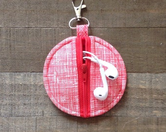Red and White Sketch Circle Zip Earbud Pouch Coin Purse Ear Bud Holder Case