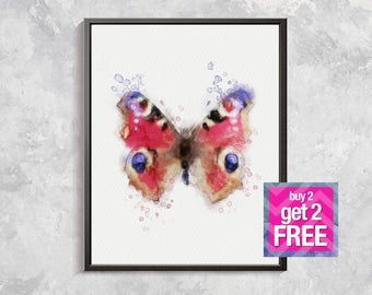 Butterfly Print,  Butterfly watercolor, Butterfly Modern Art, Room Decor, Watercolor printable, Butterfly artwork, Red Butterfly decor
