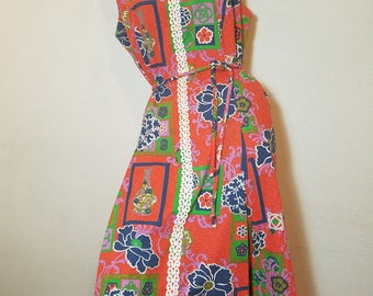 FREE  SHIPPING   1960 Mod  Abstract Dress