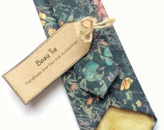 Floral tie, Mens skinny tie, wedding tie, Liberty print skinny tie, wild flower print tie, men's floral tie