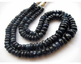 Kyanite Beads, Faceted Rondelle Beads, Faceted Kyanite, 13mm To 7mm Each, 15 Inch Strand, 90 Pieces Approx