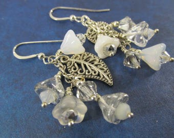 White and Silver Multi-Dangle Earrings with Vintage Givre Beads, Glass Flowers and Antique Silver Leaves on Sterling Silver Wires