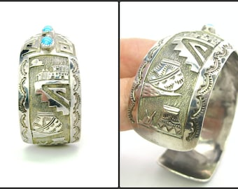 Native American Scenic Turquoise Bracelet Wide Hopi Sterling Silver Geometric Overlay Signed LB LR W Pottery Southwestern Rocks 35.2g